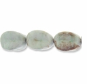 Porcelain Beads, marbled white/honey/green, 27x24mm-28x25mm fancy oval  (8 inch strand)