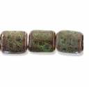 Porcelain Beads, light honey and pale green, 19x16mm-20x17mm puffed rectangle  (15 inch strand)