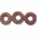 Porcelain Beads, pink and brown, 20mm round donut. (8 inch strand)