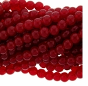 8mm Ruby Round Glass Beads 16 inch Strand