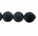 18mm Disc Black Lava Beads 16 Inch