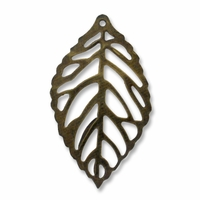 36mm Antique Brass Leaf Dangle (1PC)