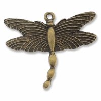 Antiqued Brass Dragonfly Charm