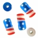 18mm USA Flag Design Tube Lampwork Beads (5PK)