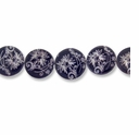 Floral Black 15mm Flat Round Shell Beads 16 Inch Strand