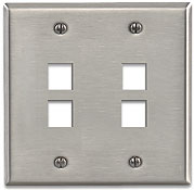 Leviton Quickport Stainless Steel 4 Port Double-Gang Wallplate