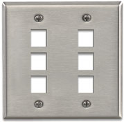 Leviton Quickport Stainless Steel 6 Port Double-Gang Wallplate