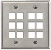 Leviton Quickport Stainless Steel 12 Port Double-Gang Wallplate