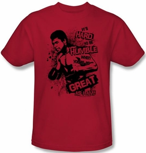Muhammad Ali T-shirt Adult Hard to Be Humble Red Tee Shirt