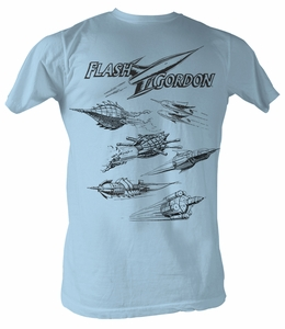 Flash Gordon T-Shirt - Rocket Adult Light Blue Tee Shirt