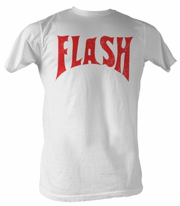 Flash Gordon T-Shirt - Flash Logo Front Only Adult White Tee Shirt