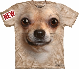 Chihuahua Shirt Tie Dye Dog Face T-shirt Adult Tee