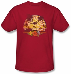 Magnum PI Kids T-shirt Hawaiian Sunset Classic Youth Red Tee Shirt