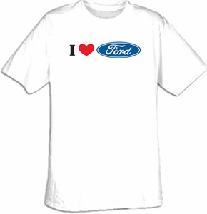 Ford T-Shirts - I Love Ford Logo Adult Tee Shirts