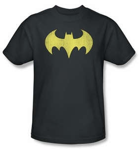 Batgirl T-shirt - Logo Distressed DC Comics Adult Charcoal Tee