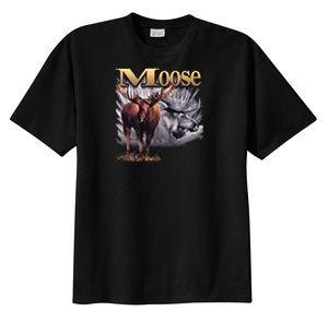 Moose T-shirt - Moose In Field Hunting Animal Wildlife Adult Tee