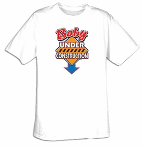 Baby Construction Pregnant Funny Humor Adult T-shirt Tee Shirt
