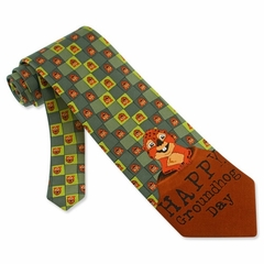 Groundhog Day Silk Tie Necktie - Men's Animal Print Green Neck Tie