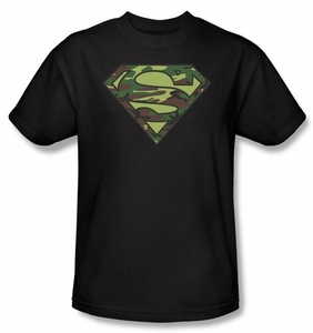 Superman T-shirt Military Camo Logo Adult Superhero Black Tee Shirt