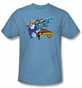 Superman T-shirt Quick Change DC Comics Adult Carolina Blue Tee Shirt