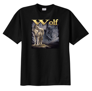 Wolf T-shirt Wolf On Rock Outdoor Wolves Wildlife Adult Tee
