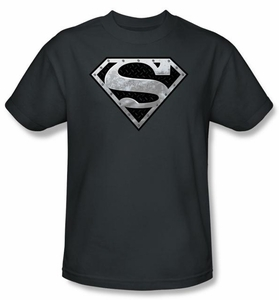 Superman T-shirt  Super Metallic Shield Adult Charcoal Gray Tee Shirt