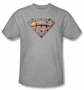 Superman T-shirt  Basketball Shield Adult Heather Gray Tee Shirt