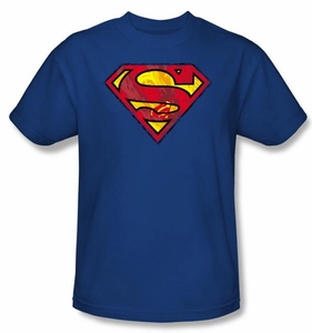 Superman T-shirt  Action Shield Superhero Adult Royal Blue Tee Shirt