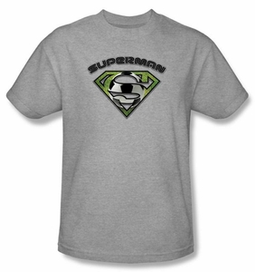 Superman T-shirt Soccer Ball Shield Adult Heather Gray Tee Shirt