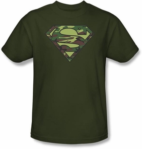 Superman T-shirt Camo Logo Shield Adult Army Green Superhero Tee Shirt