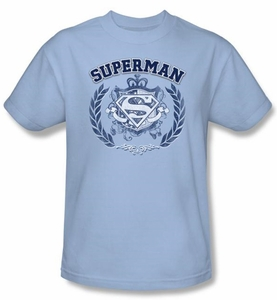 Superman T-shirt Collegiate Crest Adult Light Blue Tee Shirt