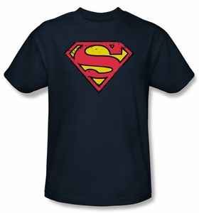 Superman Logo Shirt Distressed Shield Navy Blue T-Shirt Tee