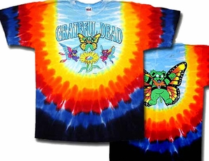 Grateful Dead T-shirt Tie Dye Butterfly Bears Adult Tee Shirt