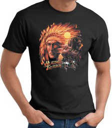 Indian T-shirt - Blazing Thunder Chief Biker Tee Shirt
