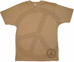 Lots of Peace Shirt - Adult Khaki Brown Tee