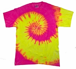 Tie Dye T-shirt Fluorescent Swirl Yellow Pink Swirl Adult Tee Shirt