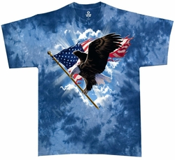 Patriotic Flying Eagle T-shirt - Tye Dye Adult Tee Shirt