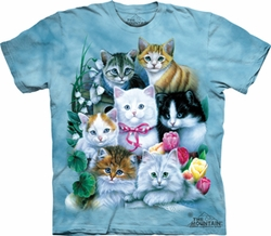 Kitten Tee - Kitten Family Adult Tye Dye T-shirt