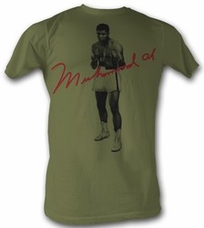 Muhammad Ali T-shirt Red Signature Adult Sand Tee Shirt