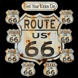 Biker T-shirt - Rt 66 Signs Tee