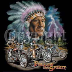 Indian Biker T-shirt - Follow the Spirit Chief Tee