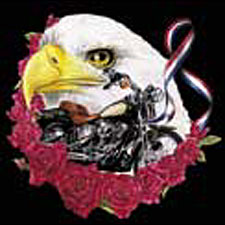 Biker T-shirt - Eagle, Roses and Motorcycle Tee