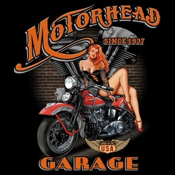 Biker T-shirt - Motorhead Garage Indian Bike Tee Shirt