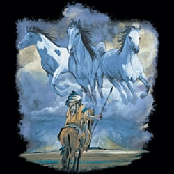 Indian with Horses Shirt - Native American Heritage Tee