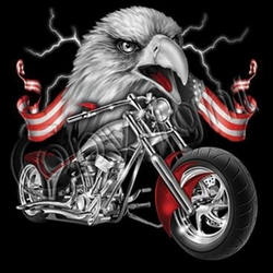 Mens Biker T-shirt - Eagle Biker