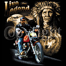 Biker T-shirt - Live the Legend Chief - Bald Eagle Tee