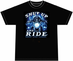 Biker T-shirt - Shut Up & Ride Skeleton Tee Shirt
