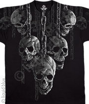 Skull T-shirt - Fantasy Hanging Out Black Tee Shirt