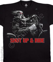 Biker T-shirt - Shut Up And Ride Skeleton Tee Shirt