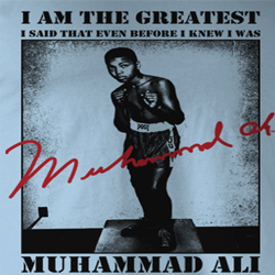 Muhammad Ali Shirt The Greatest Adult Light Blue Tee T-Shirt